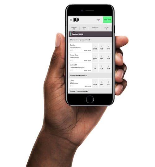 10bet sports betting mobile hand